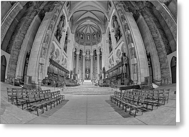 Saint John The Divine Cathedral High Altar  II Bw Greeting Card by Susan Candelario