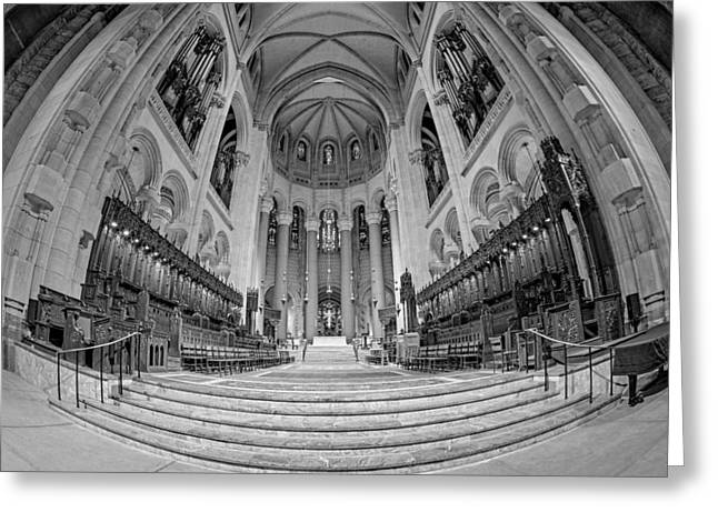Saint John The Divine Cathedral High Altar  IIi Bw Greeting Card by Susan Candelario