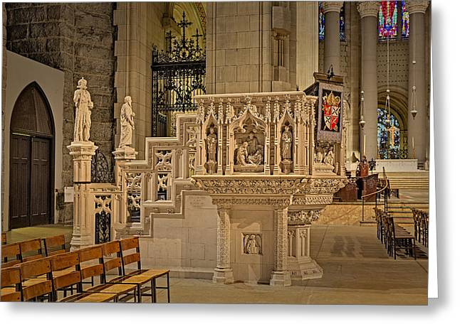 Saint John The Divine Cathedral Pulpit Greeting Card by Susan Candelario