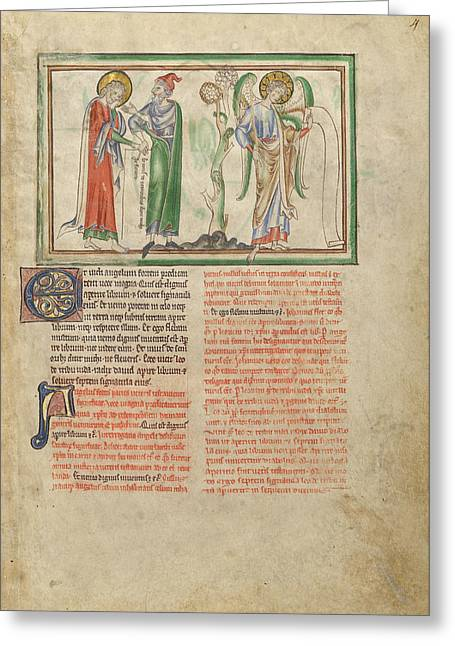Saint John The Evangelist Consoled By An Elder And By An Greeting Card by Litz Collection