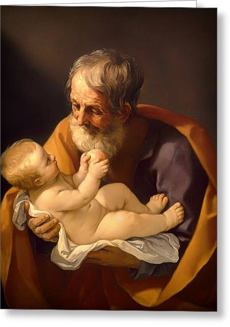 Saint Joseph And The Christ Child Greeting Card by Mountain Dreams