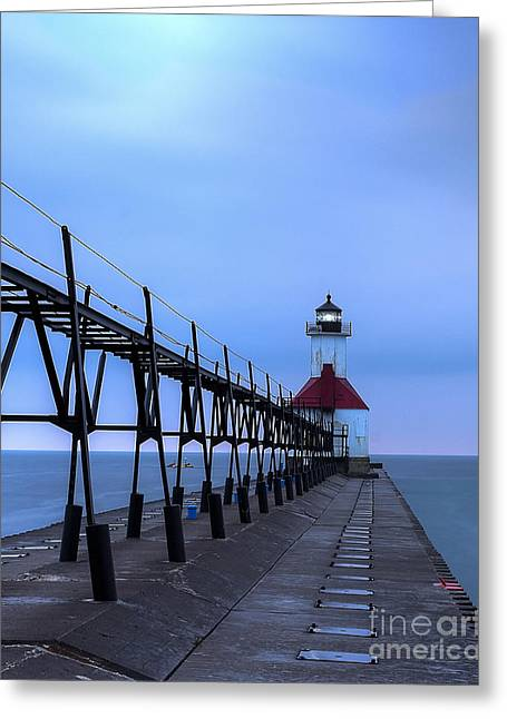Saint Joseph Lighthouse And Pier Greeting Card by Twenty Two North Photography