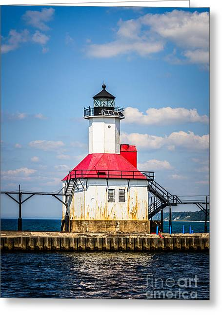 Saint Joseph Lighthouse Picture Greeting Card by Paul Velgos