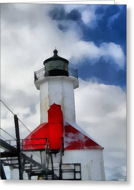 Saint Joseph Michigan Lighthouse Greeting Card by Dan Sproul