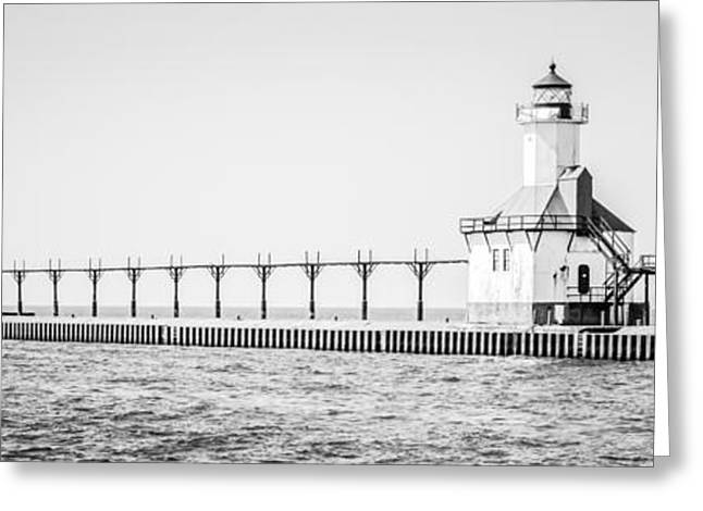Saint Joseph Michigan Lighthouse Panoramic Photo Greeting Card by Paul Velgos