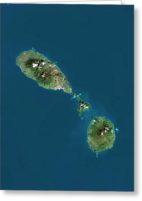 Saint Kitts And Nevis Greeting Card by Planetobserver/science Photo Library