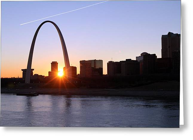 Saint Louis Arch Sunset Greeting Card by David Yunker