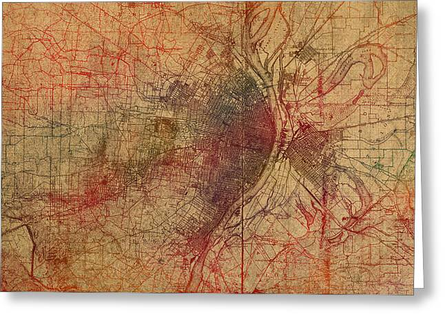 Saint Louis Missouri Street Map Schematic Watercolor On Old Parchment From 1903 Greeting Card