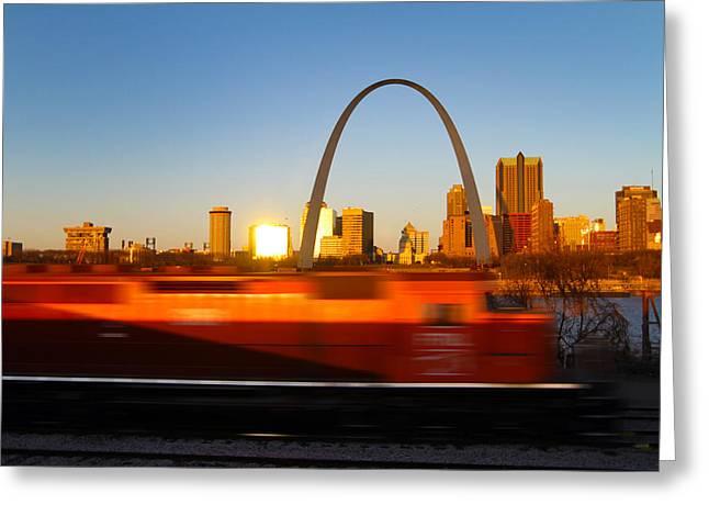 Saint Louis Morning Train Greeting Card by David Yunker