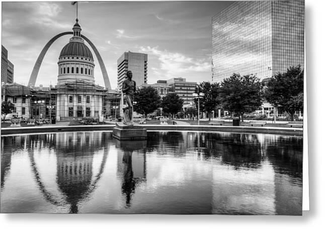 Saint Louis Reflections - Black And White Greeting Card by Gregory Ballos