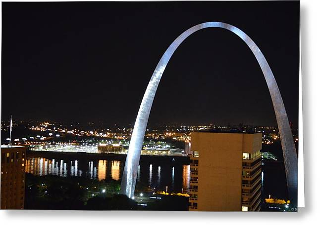 Greeting Card featuring the photograph Saint Louis Skyline And Jefferson Expansion Arch by Jeff at JSJ Photography