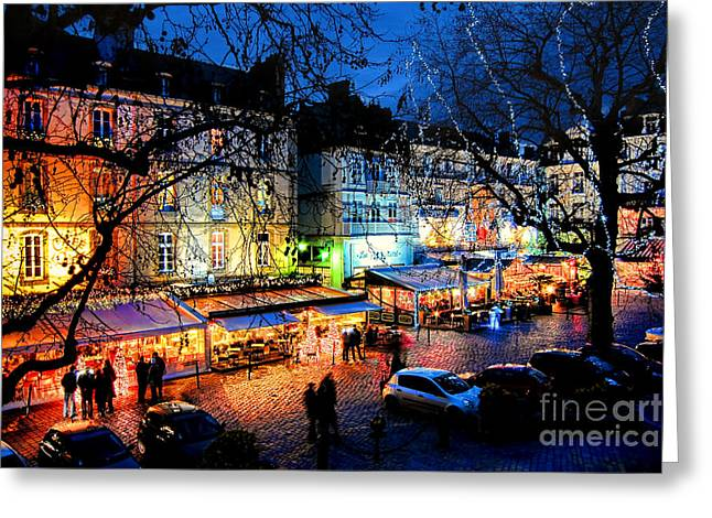 Saint Malo Night Greeting Card by Olivier Le Queinec