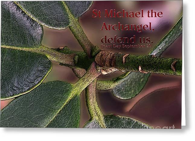 Greeting Card featuring the photograph Saint Michael The Archangel by Jean OKeeffe Macro Abundance Art