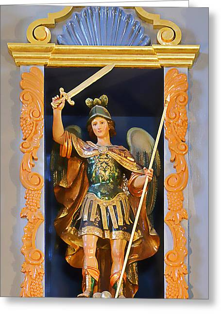 Saint Michael The Archangel Greeting Card by Christine Till