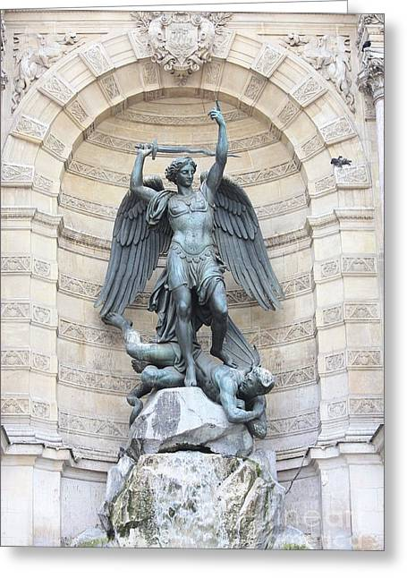 Saint Michael The Archangel In Paris Greeting Card