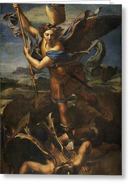 Saint Michael Vanquishing Satan Greeting Card