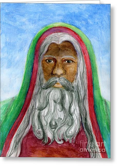 Saint Nicholas Black Old World Santa  Greeting Card