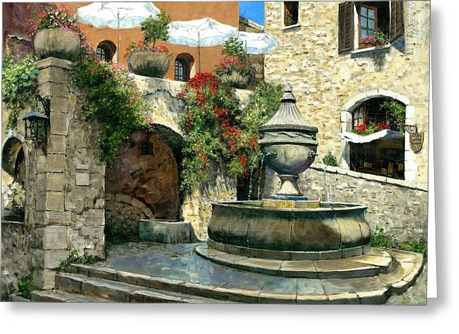 Saint Paul De Vence Fountain Greeting Card by Michael Swanson