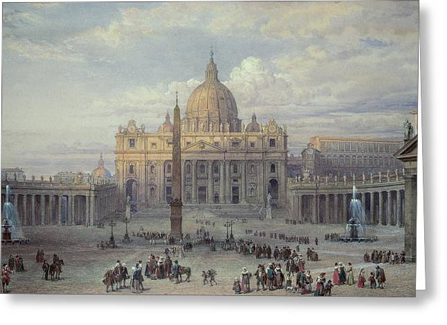 Saint Peters In Rome Greeting Card by Louis Haghe
