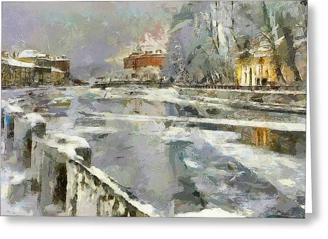 Saint Petersburg At Winter Greeting Card by Yury Malkov
