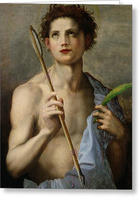 Saint Sebastian Holding Two Arrows And The Martyr's Palm Greeting Card by Andrea Del Sarto