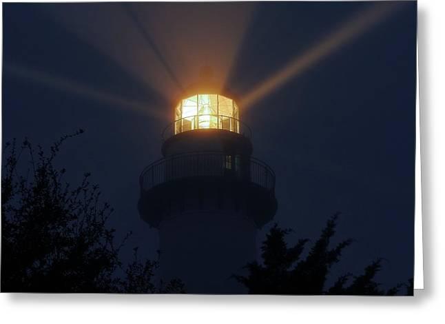 Saint Simons Island Light Greeting Card by Laura Ragland