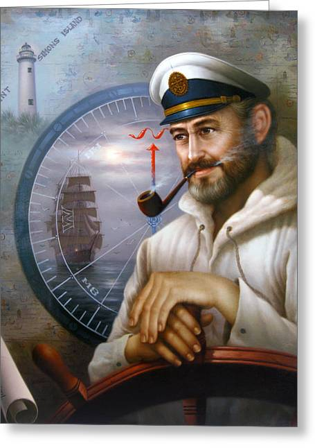 Saint Simons Island Sea Captain 1 Greeting Card