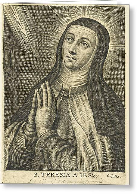 Saint Teresa, Schelte Adamsz Greeting Card by Schelte Adamsz. Bolswert And Peter Paul Rubens And Cornelis Galle (ii)