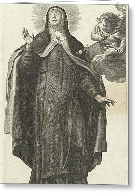 Saint Theresa Of Avila And Angel With Glowing Arrow Greeting Card by Pieter De Bailliu (i)