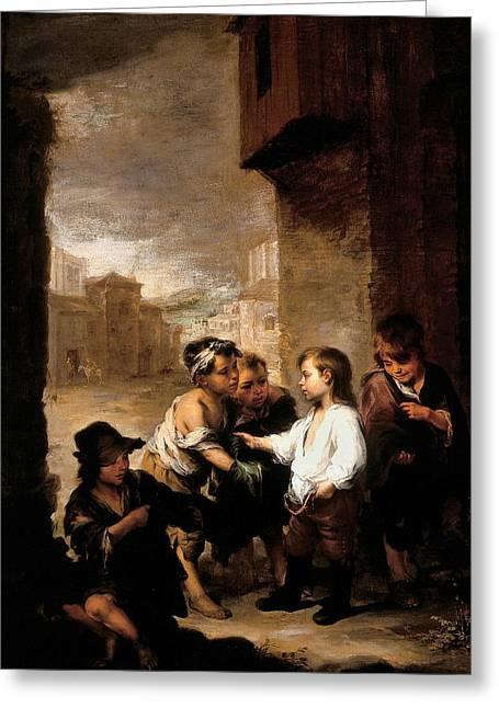 Saint Thomas Of Villanueva Dividing His Clothes Among Beggar Boys, C.1667 Oil On Canvas Greeting Card by Bartolome Esteban Murillo
