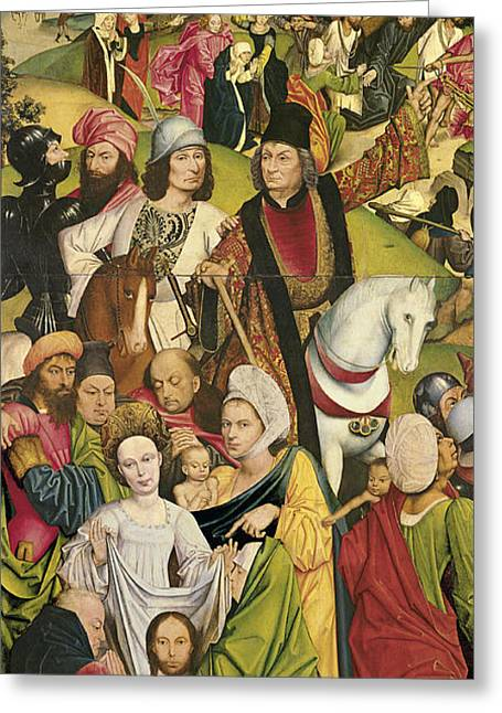 Christ Bearing The Cross. Saint Veronica And A Group Of Knights Greeting Card by Derick Baegert