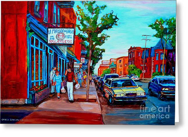 Saint Viateur Bagel Shop Greeting Card by Carole Spandau