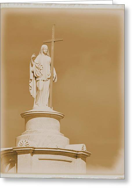 Greeting Card featuring the photograph Saint With A Cross by Nadalyn Larsen