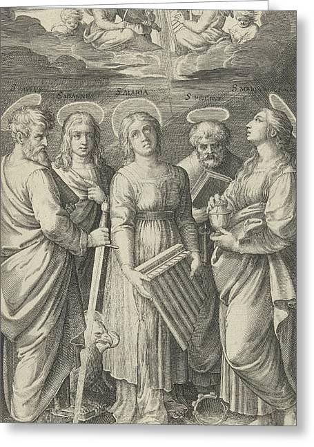 Saints Paul, John, Cecilia, Peter And Mary Magdalene Greeting Card by Nicolaes De Bruyn And Marcantonio Raimondi