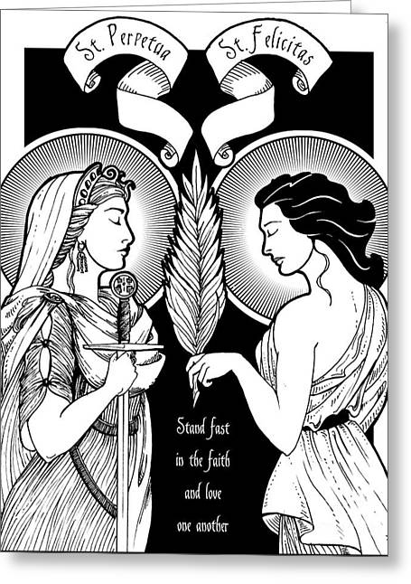 Saints Perpetua And Felicity Greeting Card by Lawrence Klimecki