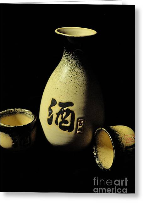 Sake Bottle And Cups Greeting Card