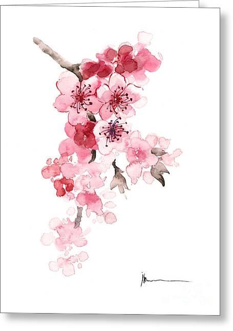 Sakura Flowers Watercolor Art Print Painting Greeting Card by Joanna Szmerdt