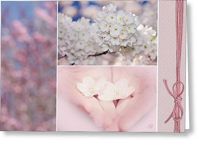 Sakura Triptych Greeting Card by Lisa Knechtel