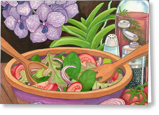 Salad And Orchids Greeting Card by Tammy Yee