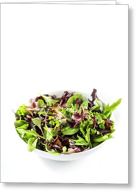 Salad Leaves In White Bowl Greeting Card