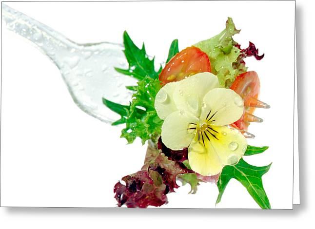 Salad On Fork Greeting Card