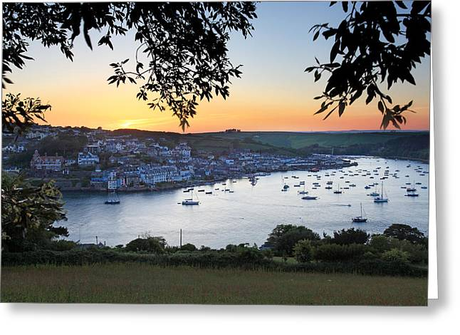 Salcombe Estuary Sunset Greeting Card by Ollie Taylor