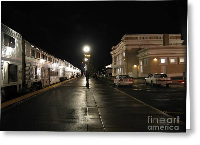 Salem Amtrak Depot At Night Greeting Card