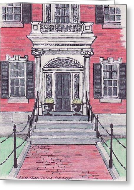 Salem Essex Street Front Door Greeting Card by Paul Meinerth