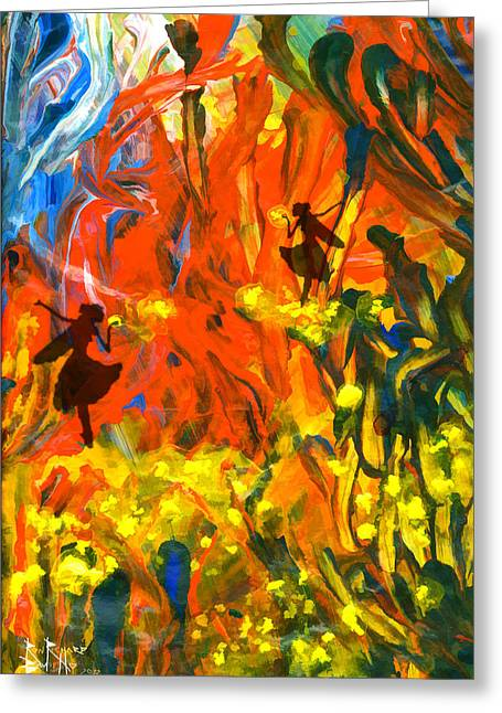 Greeting Card featuring the painting Salient Celebration by Ron Richard Baviello