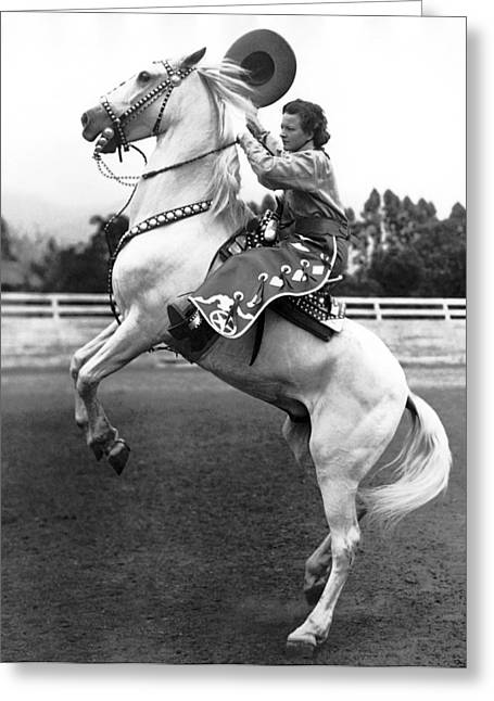 Salinas Rodeo Cowgirl Greeting Card by Underwood Archives