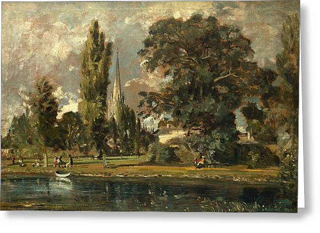 Salisbury Cathedral And Leadenhall From The River Avon Greeting Card by John Constable