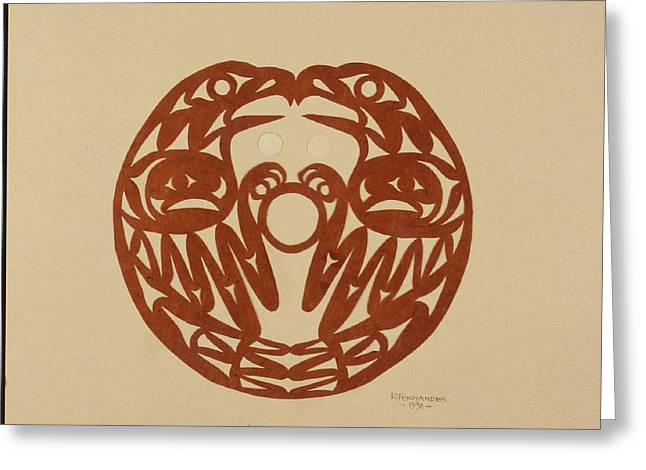 Salish Eagles Greeting Card by Roger Fernandes  Lower Elwha tribe