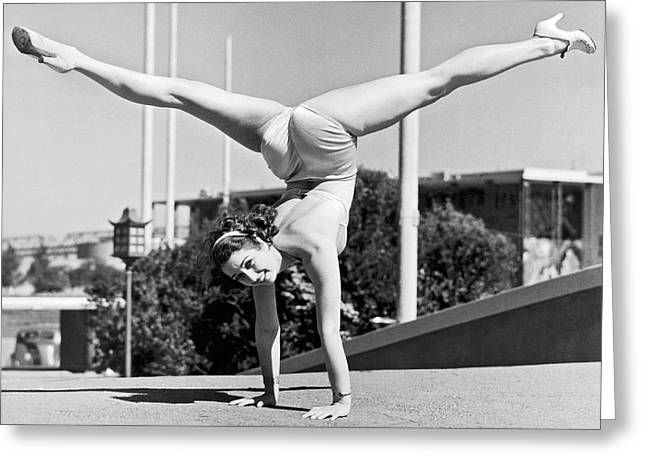 Sally Rand Combines A Hand Stand With The Splits Greeting Card by Underwood Archives