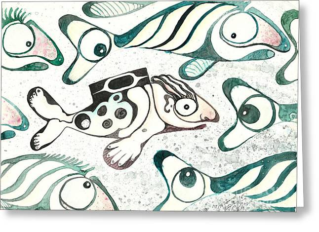 Salmon Boy The Swimmer Greeting Card